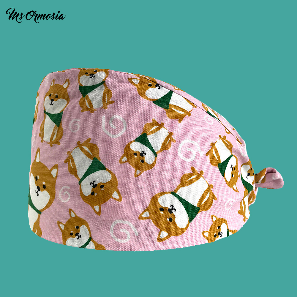 High Quality Puppy Pattern Printing Men And Women 100% Cotton Hospital Doctor Hat Work Cap Strap Medical Nurse Cap Surgery Hat