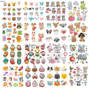 Prajna Iron On Cute Animal Patches For Kids Clothing DIY T-shirt Applique Heat Transfer Vinyl Unicorn Owls Patch Thermal Sticker zotoone owl animal heat transfer patches for clothing sticker diy cute iron on letter transfert thermocollants t shirt printed g