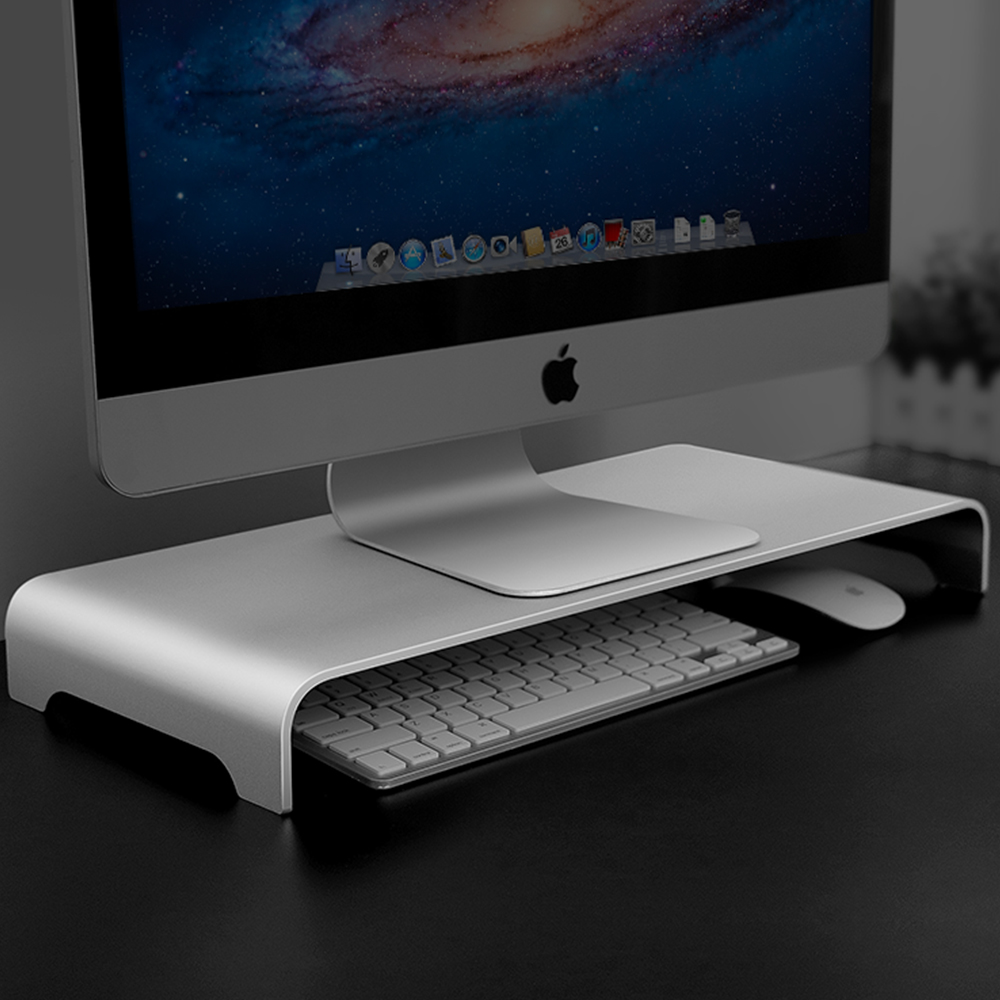 Aluminum Monitor Stand Computer Riser Universal Metal Desk Stand Base Up To 27 Inches Screens For PC, Laptop,MacBook