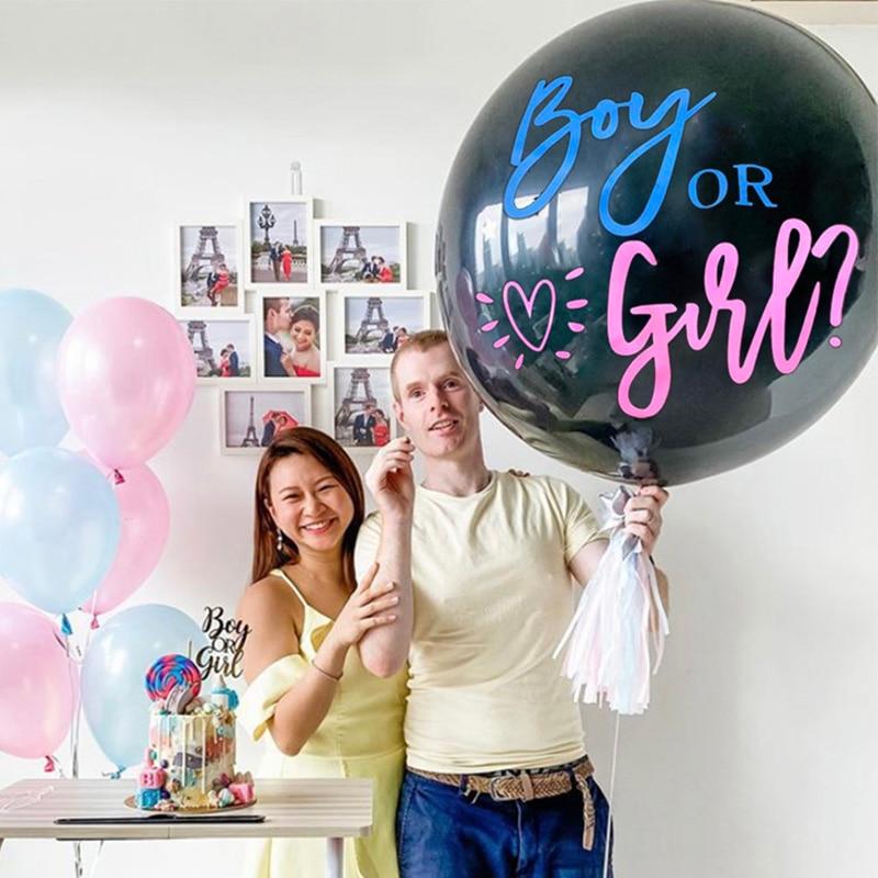 1 комплект гигантский джинсы для маленьких мальчиков или девочек Пол раскрыть чёрный цвета латексный шар Baby Shower конфетти шарики для день ро...
