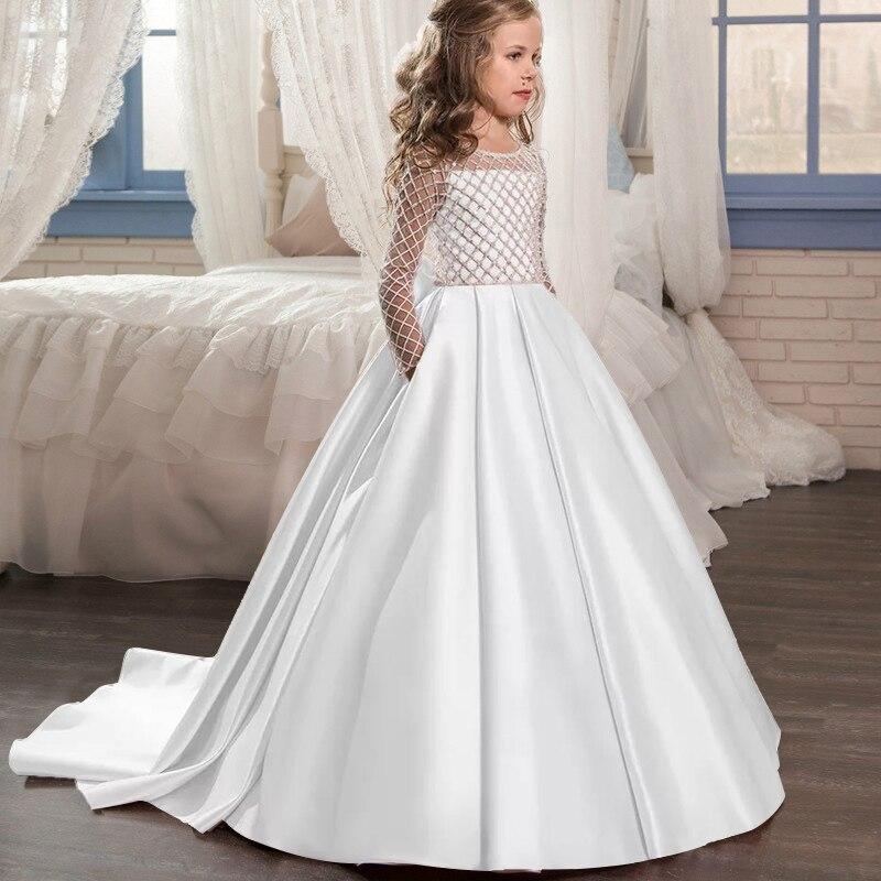 Маленькие платья для девочек, держащих букет невесты на свадьбе; платье для торжеств; платье для девочек, расшитое бисером, на день рождения; платье для первого причастия; бальное платье с длинными рукавами и лепестками - Цвет: white