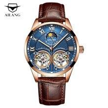 AILANG Mechanical Double Tourbillon Business Top Brand Watch Men Automatic Watch Waterproof Fashion Casual Skeleton Men Clock