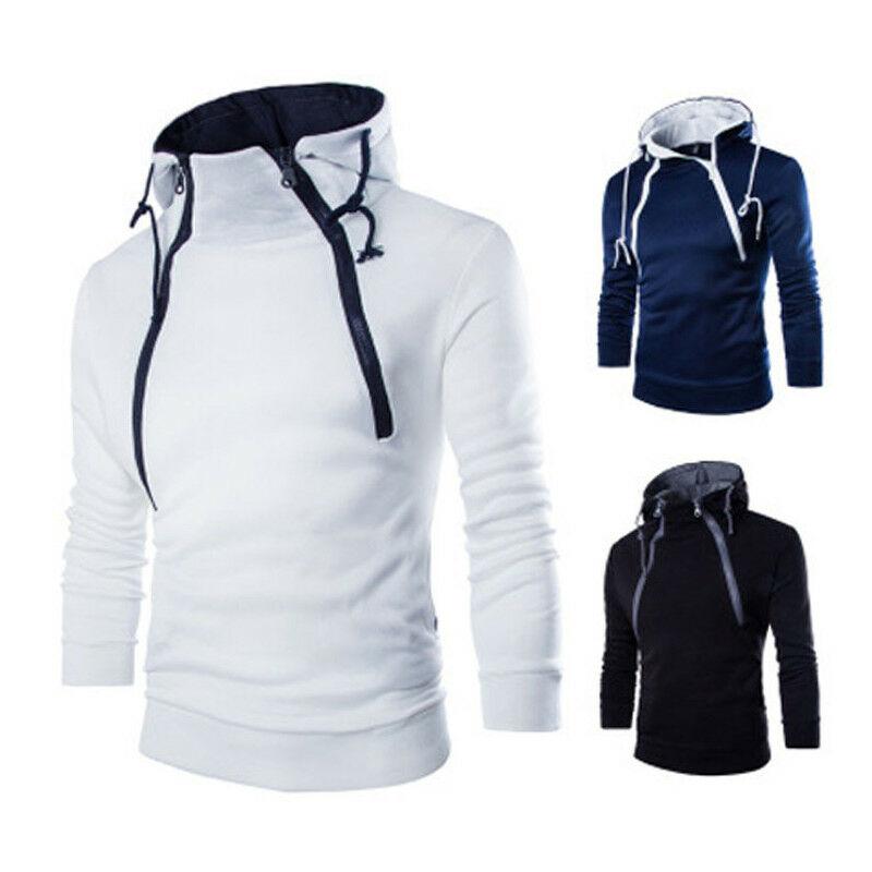 2020 Spring Men Winter Turtleneck Hoodie Slim Hooded  Solid Long Sleeve Sport Winter Autumn Warm Pullover Jackets Outwear