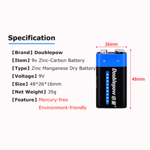 Image 2 - 2PCS Disposable Battery 6F22 9V Zinc Carbon Primary Battery for KTV Multimeter Microphone Electronic Devices Battery(AAA FREE)