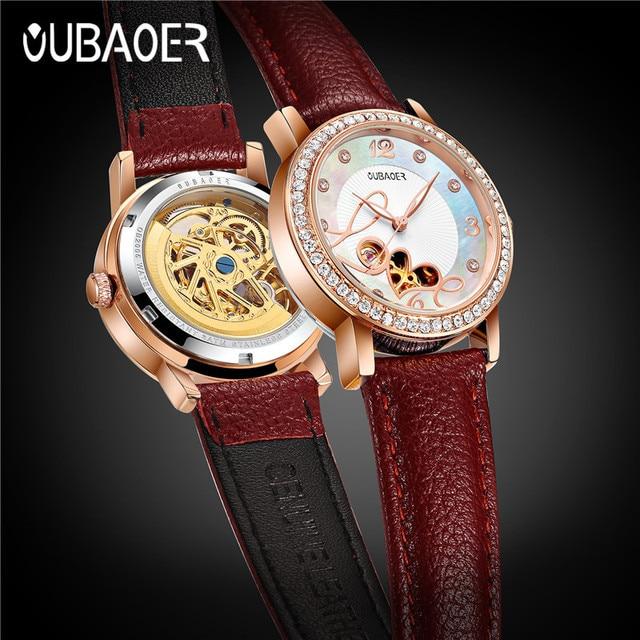 relogio feminino OUBAOER Automatic Mechanical Watch Women Fashion Rhinestone hollow design Watch Leather Strap Waterproof Clock 1