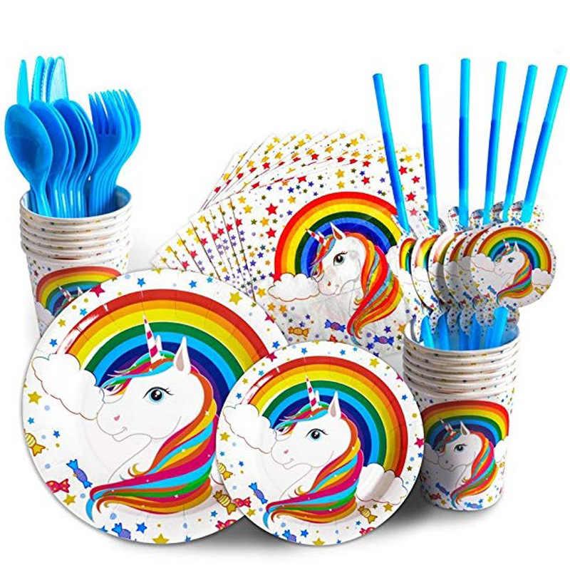 Одноразовые наборы куханной утвари единорога на день рождения, бумажные стаканы для вечеринки, тарелки для торта, голубые радужные вечерние украшения для девочек