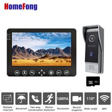 Homefong 7 Cal wideodomofon domofon telefoniczny dzwonek 1200TVL nagrywanie przewodowe odblokuj czujnik ruchu Monitor dotykowy tanie tanio PRZEWODOWY CN (pochodzenie) Bez użycia rąk CMOS color Acrylic Indoor Monitor Metal Outdoor Doorbell other 7 Inch Video Intercom System