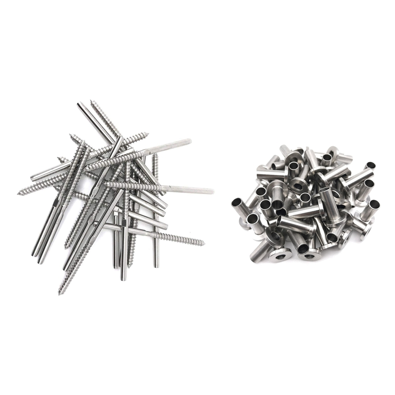 64Pcs Stainless Steel Protector Sleeves & 20Pcs Lag Screw Stud Thread Fitting Terminal For 1/8 Inch Cable Railing , Wood Posts ,