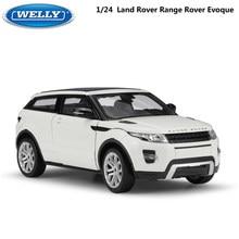 Welly modelo de carro 1:24 escala diecast carro land rover range rover evoque suv simulador liga de metal carro de brinquedo para o menino presente coleção