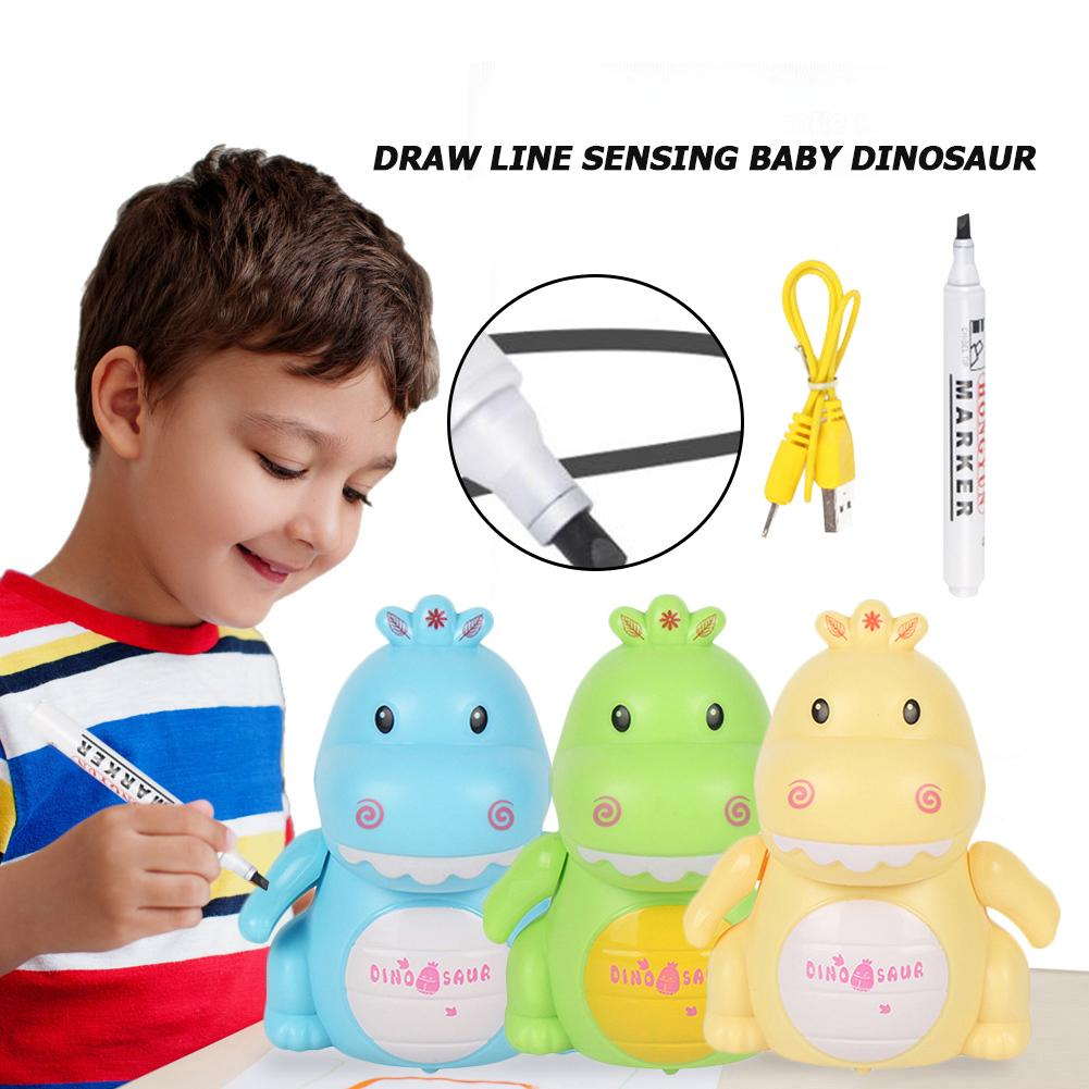 Line Drawing Induction Small Dinosaur USB Charging Automatic Induction Road Recognition Marking And Pen Car New Strange Toy
