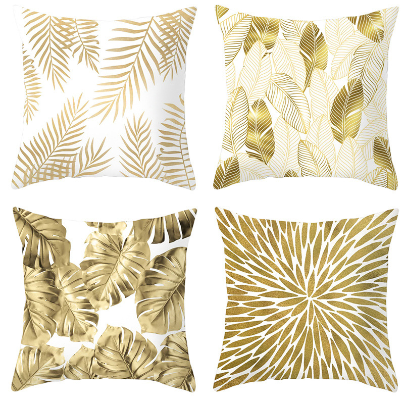 4pcs Gold Tone Leaves Pillow Cover Home