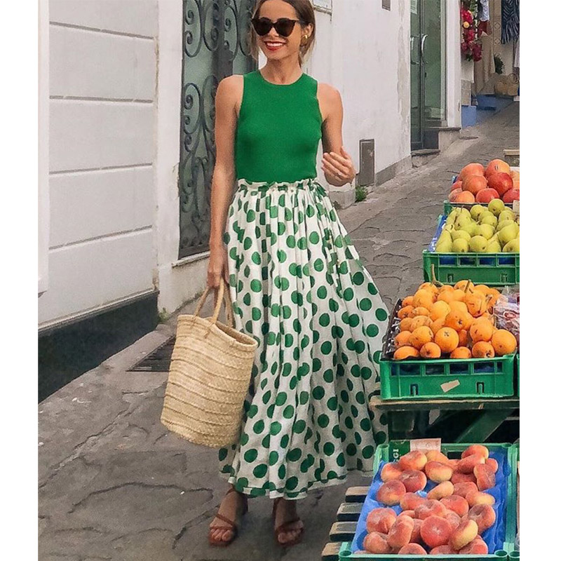 Fashion Summer Fresh Sweet Green Dress Polka Dot Splicing Fake Two Piece Unique Design A-line women