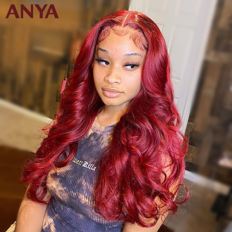 Anya cereja vermelha peruca dianteira do laço pré arrancadas onda corpo perucas de cabelo humano renda transparente 30 polegada 180% remy cabelo para preto