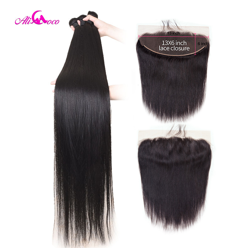 Ali Coco Straight Hair 3 Bundles With Frontal 100% Human Hair Weaves With 13x6 Frontal Remy Hair 30 Inch 32 34 36 38 40