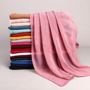Image 5 - women plain cotton scarf Head hijab wrap solid full cover up shawls foulard femme headband crinkle muslim hijabs store
