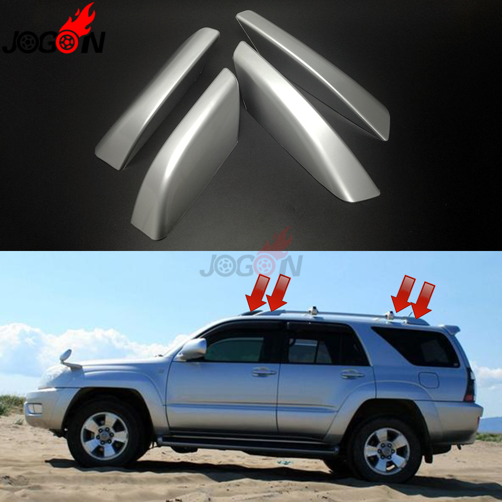 Silver Roof Rack Bar End Cover Shell 4pcs For Toyota 4Runner 2010-2018