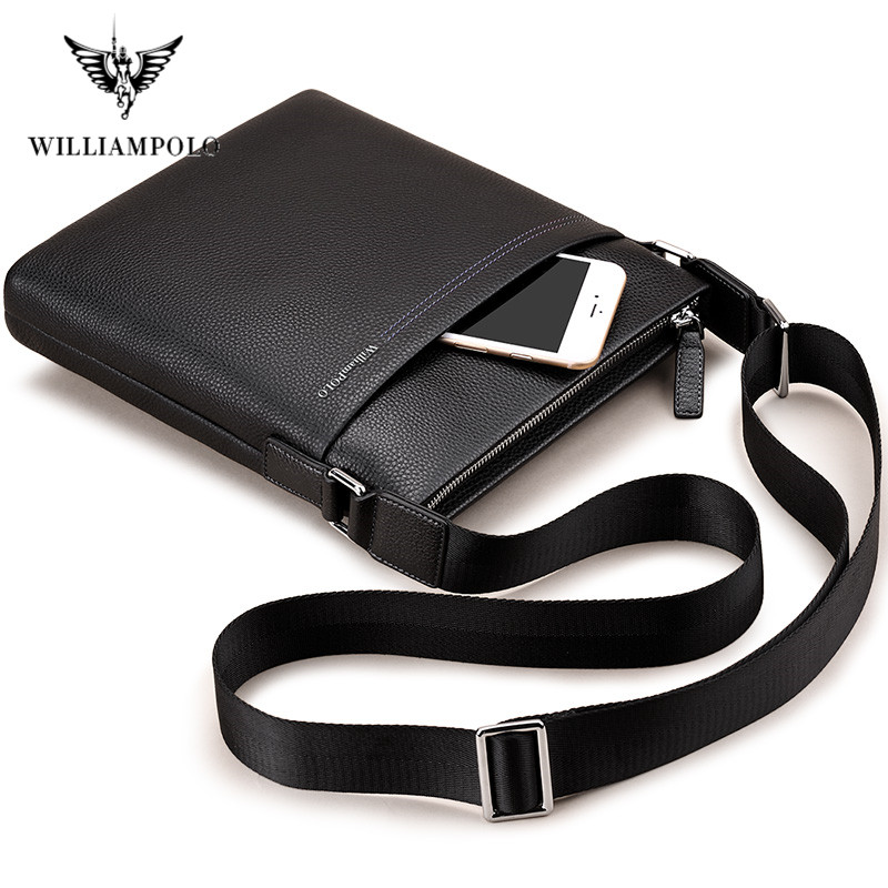 WILLIAMPOLO Cow Leather Men Messenger Bag Casual Business Vintage Men's Bag Genuine Leather Shoulder Bag Crossbody Bag