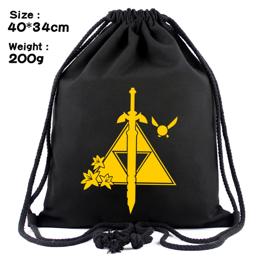 Game Legend Of Zelda Breath Of The Wild Canvas Drawstring Bag Backpack Women Cosmetic Stringbag Casual Beachbag Shoes Pouch