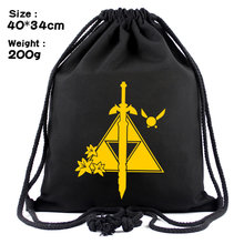 Game Legend of Zelda Breath of the Wild canvas Drawstring bag Backpack Women Cosmetic Stringbag casual Beachbag Shoes Pouch(China)