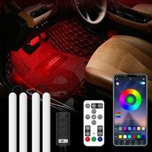 Niscarda – lampe Led pour voiture, allume cigare USB, APP, Bluetooth, RF, télécommande, son, RGB bricolage DIY, barre lumineuse ambiante