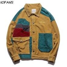 ICPANS Men Hip Hop Corduroy Jacket Retro Color Block Jacket Shirt Streetwear Harajuku Multi Pockets Jackets Reggae 2019 Autumn new ladies autumn corduroy retro jacket
