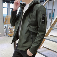 Casual Men Polyester Solid Letter Patchwork Hooded Jackets Long Sleeve Standard Zipper Coat Jacket Spring 2019