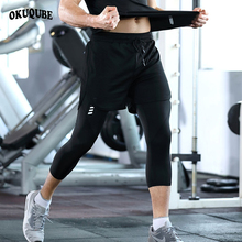 Men Sports Pants 2 in 1 Double-deck Gym Breathable Workout Black White Jogging Training Running Man M-3XL