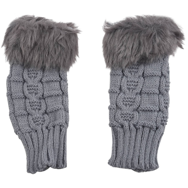 Women Faux Rabbit Fur Hand Wrist Winter Warmer Knitted Fingerless Gloves Gift-Grey