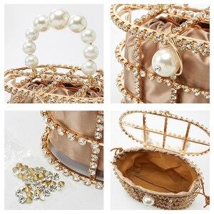 Image 5 - 진주 바구니 저녁 클러치 백 여성 2019 여름 할로우 다이아몬드 구슬 합금 금속 핸드백 여성 패션 파티