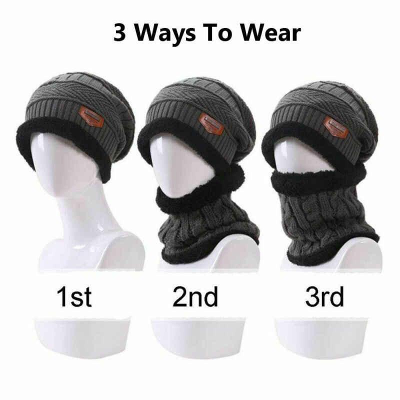 新しい男性女性ビーニー帽子スカーフネックウォーマー冬熱スキーキャップセット英国