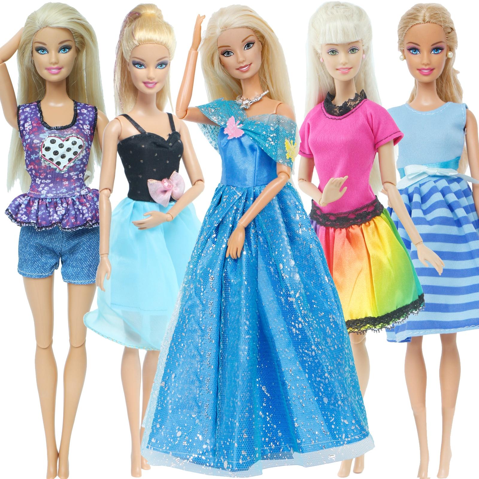 5 Set Märchen Kleid Prinzessin Kleid Cosplay Anzug Puppenhaus Party Kleid Zubehör Kleidung für Barbie Puppe Kinder Spielzeug