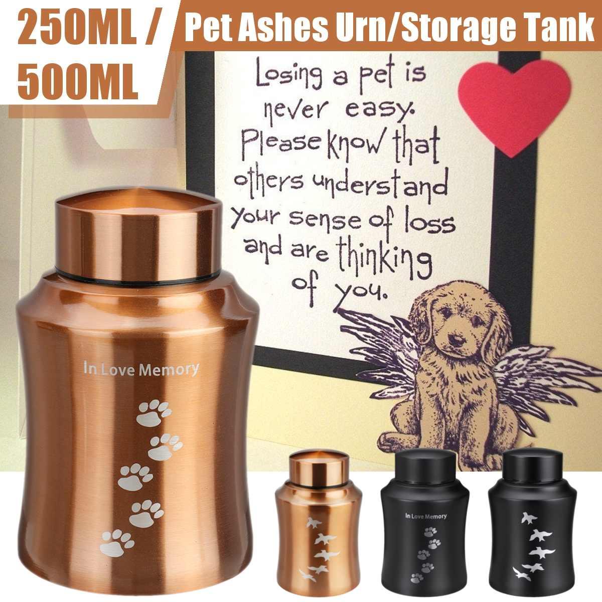 Gold/Black Stainless Steel Urns Pets Dog Cat Birds Mouse Cremation Ashes Urn Keepsake Casket Columbarium Pet Memorials 250/500ML