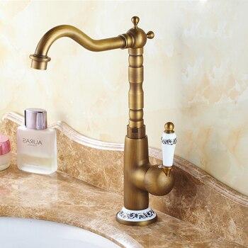 Antique Brass Ceramic Flower Base Single Handle Bathroom Kitchen Basin Sink Faucet Mixer Tap Swivel Spout Deck Mounted mnf509