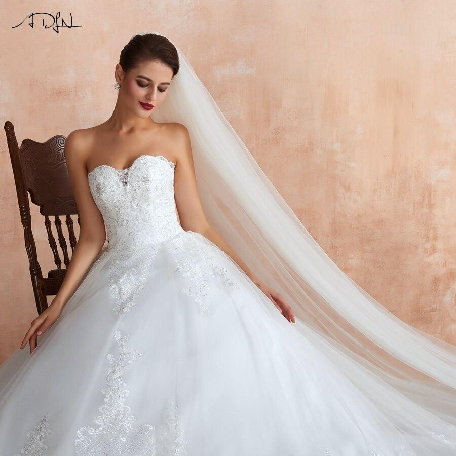 ADLN Elegant Sweetheart Sleeveless Ball Gown Wedding Dress Vestido De Noiva Sequin Applique Tull Bridal Gown Custom Plus Size