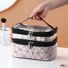 Multifunction Double Transparent Cosmetic Bag Women Make Up Case Big Capacity Tr