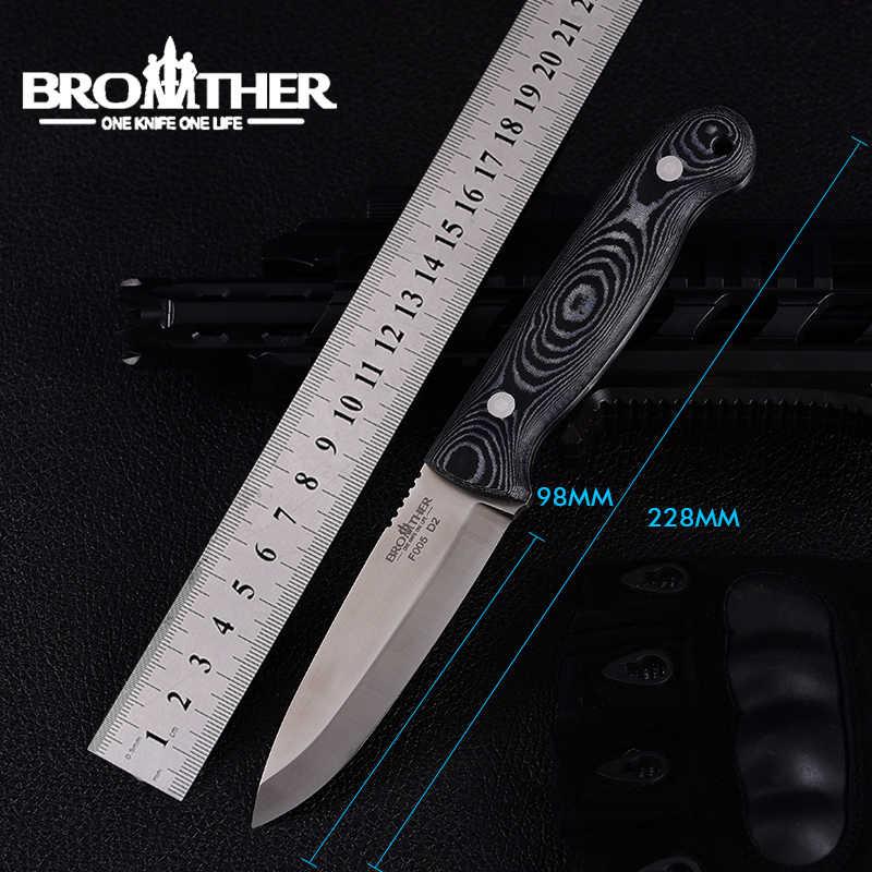 Brother F005 sabit bıçak bıçak D2 keskin dayanıklı açık kamp avcılık Survival taktik düz bıçaklar EDC aracı taşıma çantası