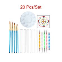 20pcs set Mandala Dotting Pen Tools for Painting Stone Ceramic with Stencil Point Brush Tray cheap OOTDTY CN(Origin) Plastic Acrylic Wooden app 15cm 5 91in app 13cm 5 12in