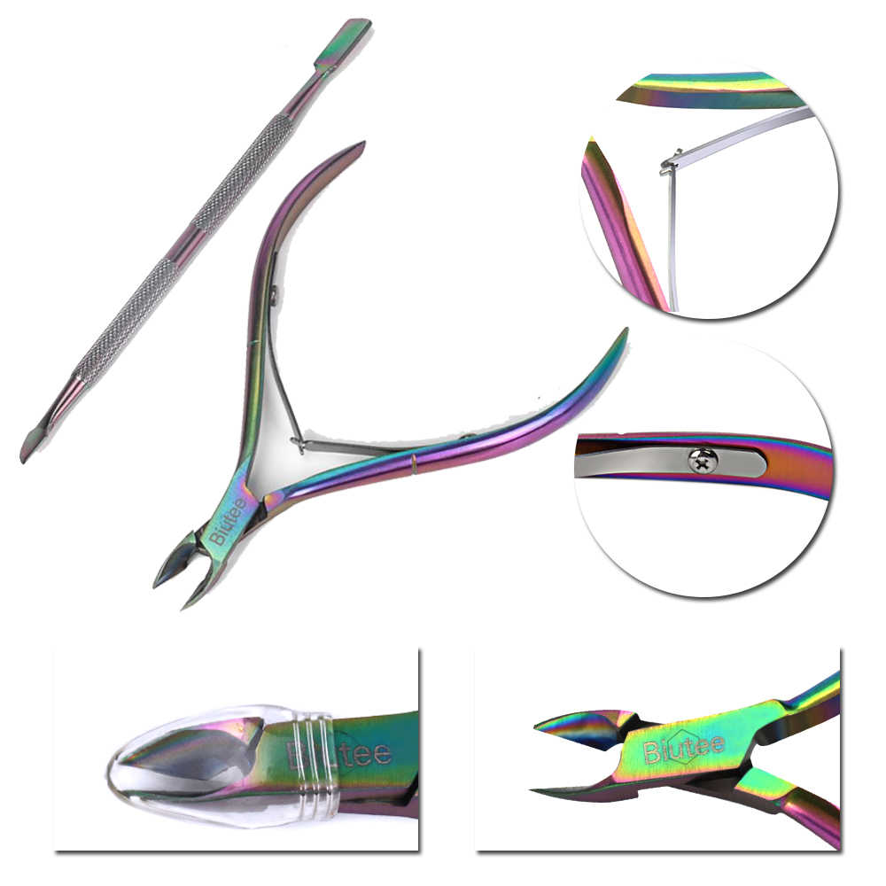 Biutee 2pcs Rainbow Chameleon Nail Art Cuticle Pusher Cutter Nipper Clipper Dode Huid Remover Set Tweezer Manicure Nail Art tool