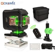GOXAWEE Green Laser Level 12 Lines 3D Self-Leveling 360 Cross Line Horizontal And Vertical Auto Lazer Level Powerful Green Beam