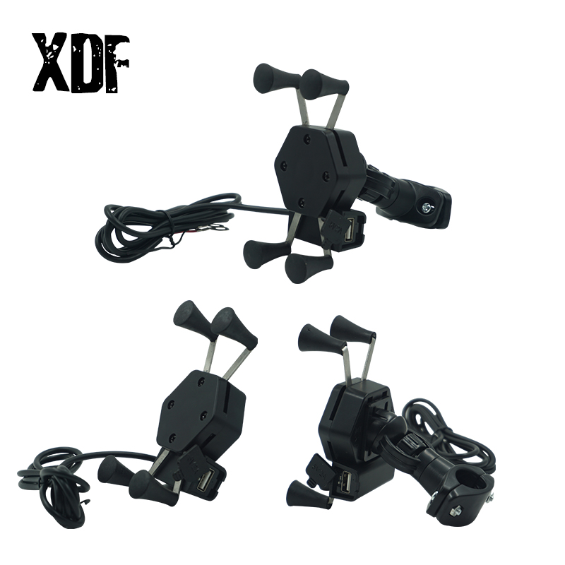 Motorcycle Bike Mobile Phone Stand Holder 360 Rotatable With USB Charger Socket X Type Handlebar Rearview Mirror Mount Bracket