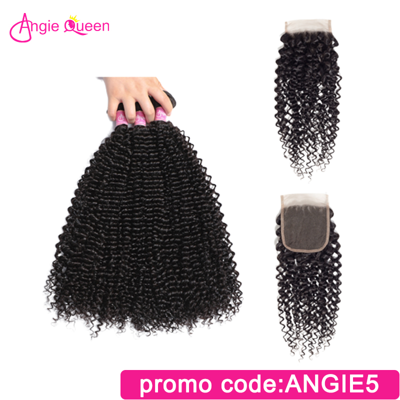 ANGIE QUEEN Indian Hair Kinky Curly Virgin Hair Bundles With Closure 3 Hair Bundles With 4*4 Lace Closure Remy Hair 1b