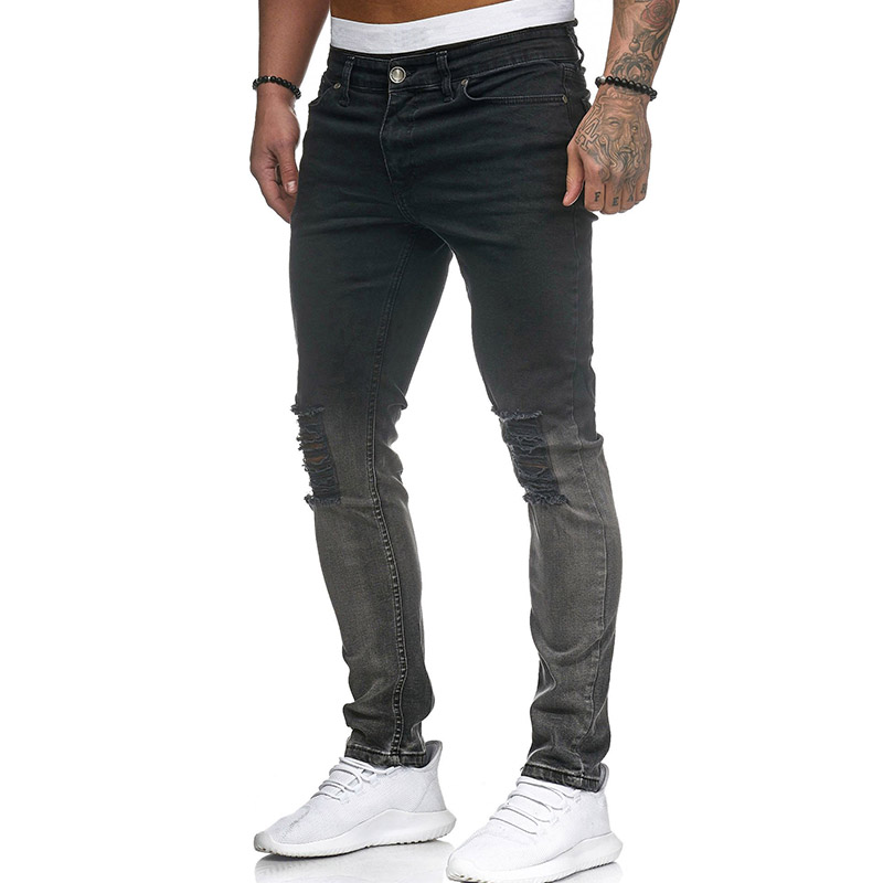 Goocheer Fashion Men Ripped Skinny Jeans Stretch Destroyed Frayed Slim Fit Denim Pant With Zipper Pencil Pants Trousers