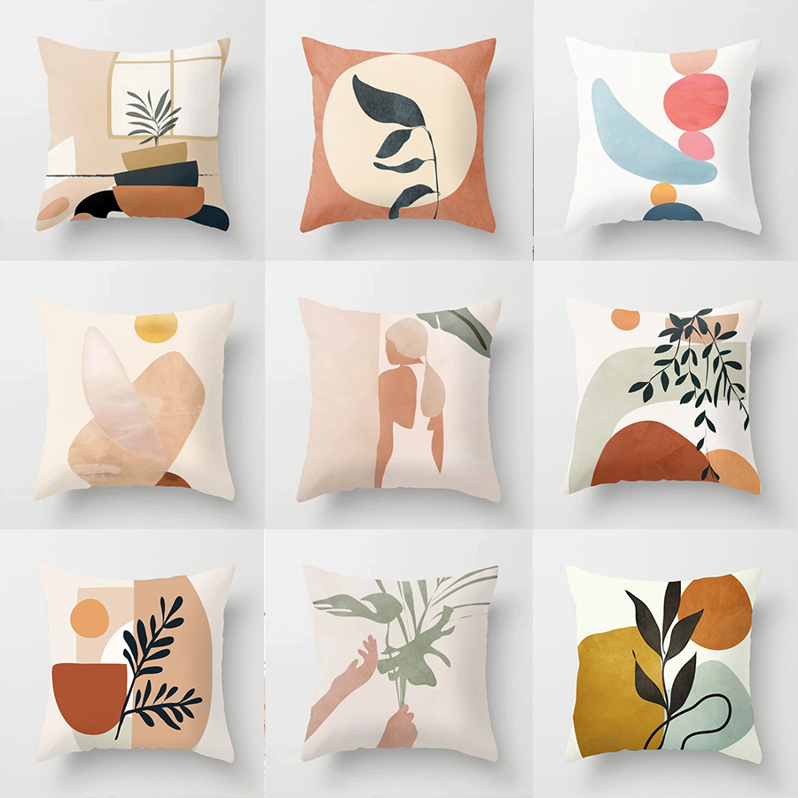 Pillowcase 45 45CM Simple Nordic Abstract Geometric Portrait Pillowcase Home Sofa Decoration Pillow Cushion Cover