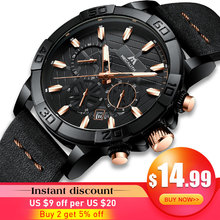 2019 Top Brand Watch Men MEGALITH Luxury Sport Chronograph Waterproof Black Leather Strap Clock For Relojes Hombre