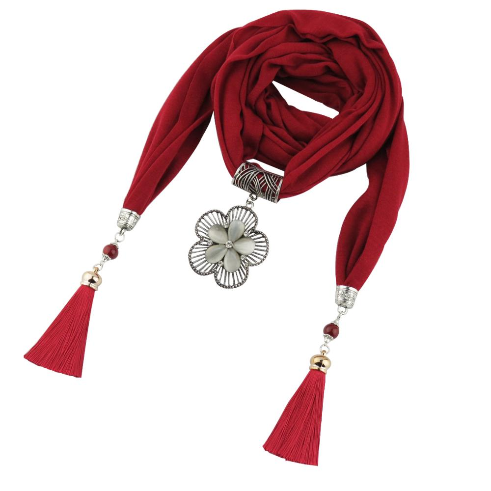 Jzhifiyer jersey cotton pendant foulard Jewelry necklace shawl plain beauty bandana jewellery scarf fashion women hijabs