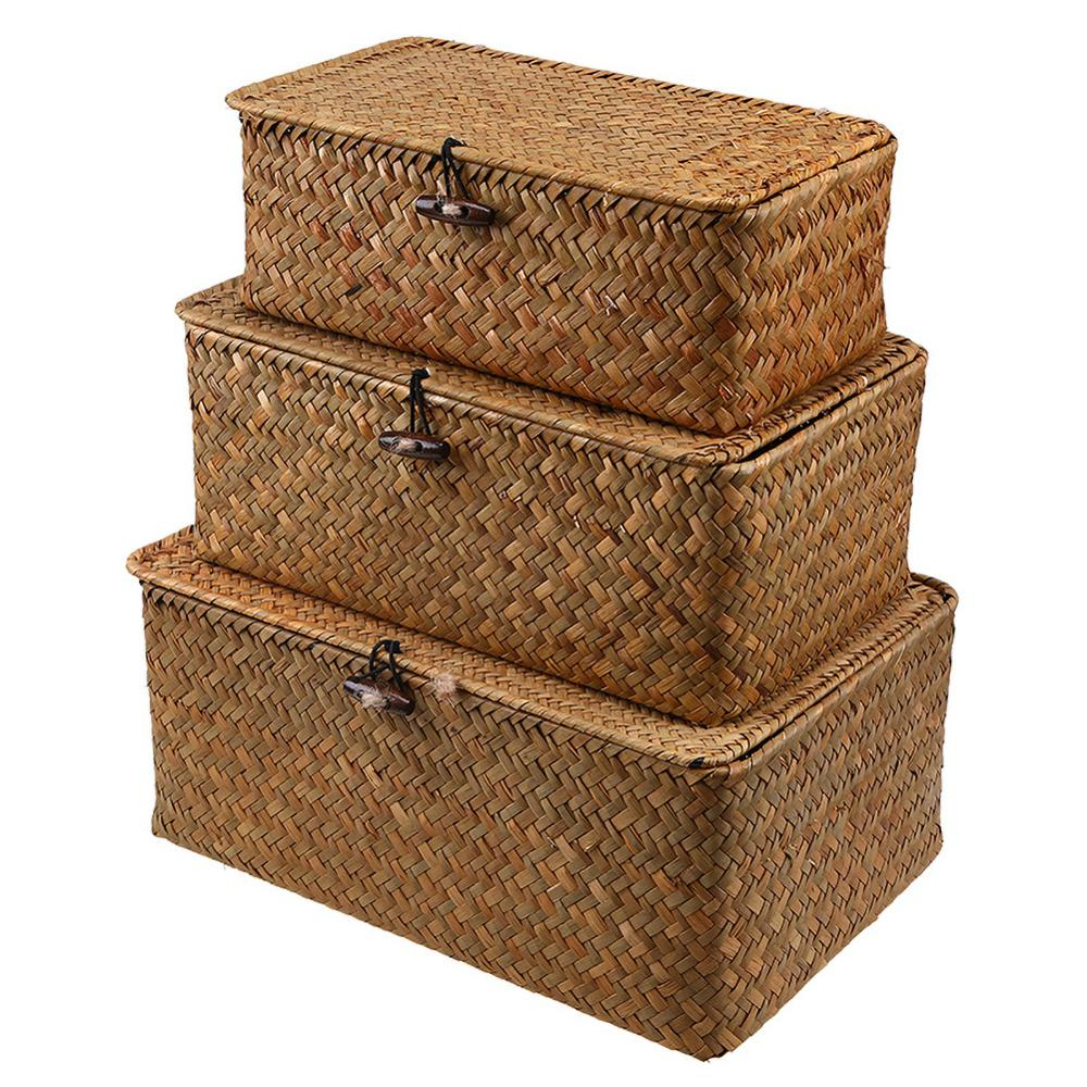 Rattan Storage Box With Lid Hand-woven Jewelry Box Wicker Makeup Organizer Food Container Storage Boxes Bins For Kids Toys