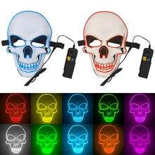 Halloween Masker Neon Maskers LED Enge Schedel Masque Skelet Horror Maske Maskerade Party Mascara Gloeiende Carnaval Masker Cosplay