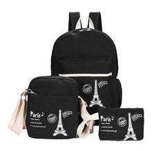 Mochila feminina de lona fresca, conjunto de 3 peças de bolsas para livros, estudantes, para meninas bolsa para adolescentes