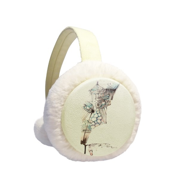 Baroque Architecture Building Watercolor Painting Winter Earmuffs Ear Warmers Faux Fur Foldable Plush Outdoor Gift