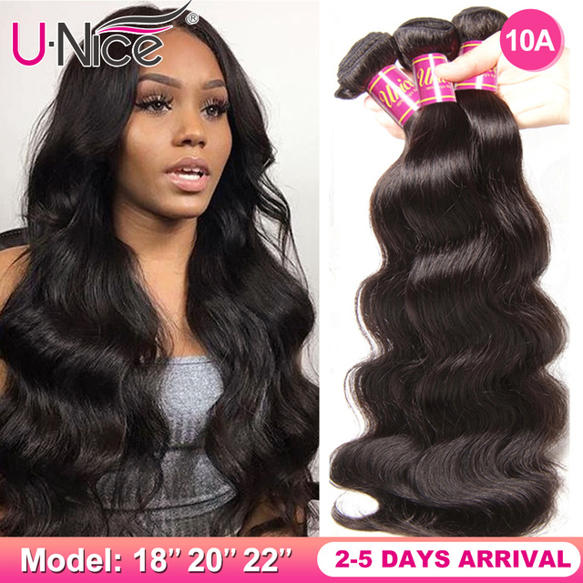 $ US $16.00 UNice Hair Peruvian Body Wave Hair Bundles 100% Human Hair Extensions 8-30inch Remy Hair Weaving Natural Color 1 Piece